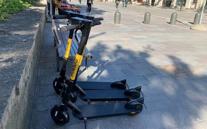 Bird scooters on a Tallinn street.
