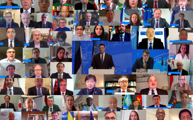 Participants at Friday's Arria-formula virtual meeting of the UN Security Council hosted by Estonia. May 22, 2020