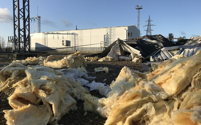 Выруская подстанция после шторма в октябре 2019 года.