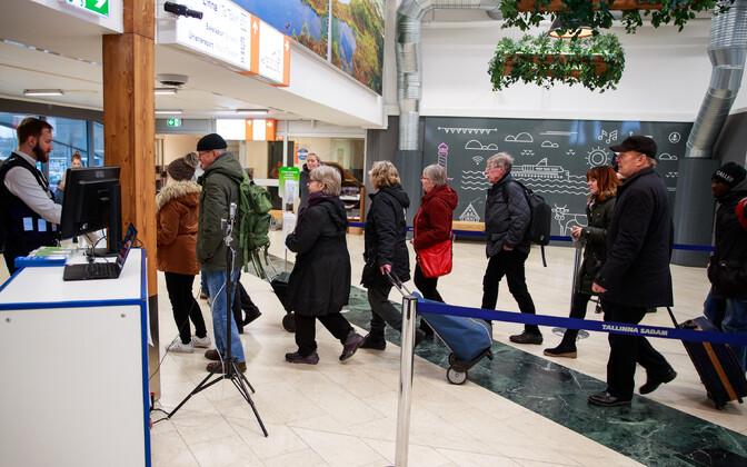 Passengers at Tallinn ferry terminal.