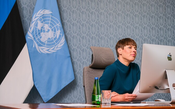 President Kersti Kaljulaid speaking at the UN's Every Woman Every Child round table.