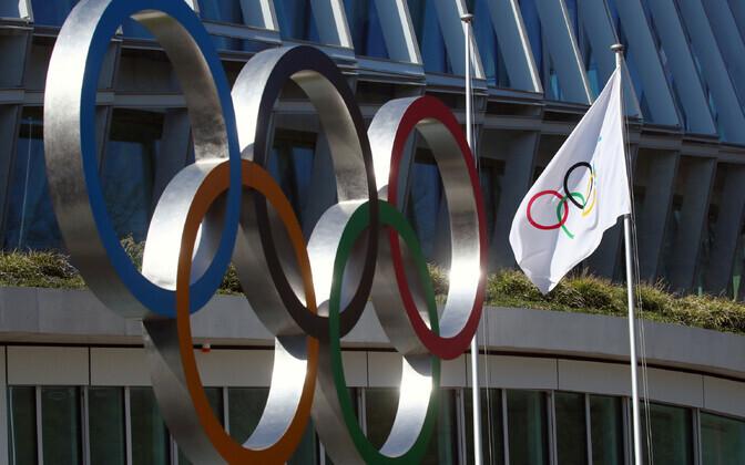 Olümpiarõngad Rahvusvahelise Olümpiakomitee maja ees Lausanne'is