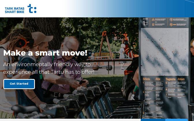 The updated homepage of Tartu's smart bikeshare program.