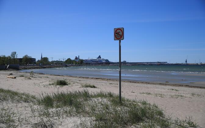 Beach at Russalka in Tallinn.