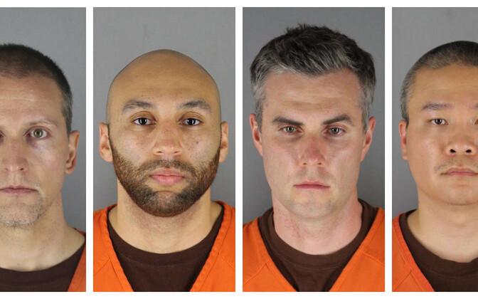 Дерек Шовин (слева) обвиняется в убийстве второй степени, а его напарники - в соучастии.