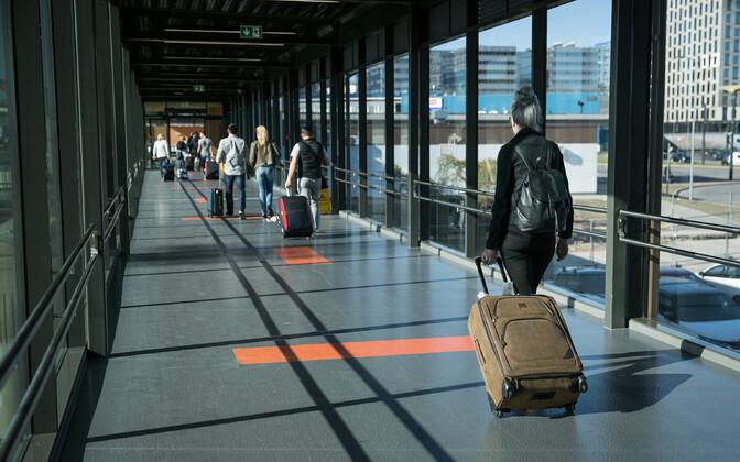 Passengers at Tallinn Airport.