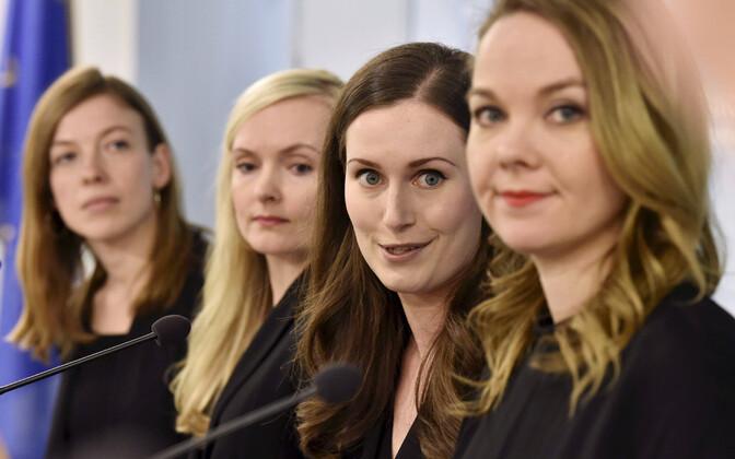Soome valitsuse liikmed, esiplaanil (paremalt) rahandusminister Katri Kulmuni ja peaminister Sanna Marin.
