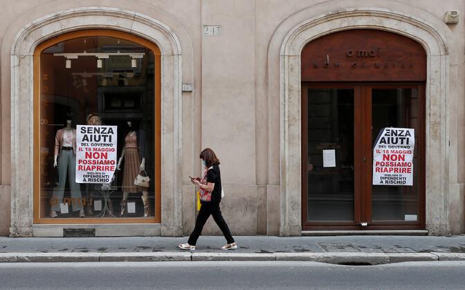 Suletud kauplused Roomas mai alguses.