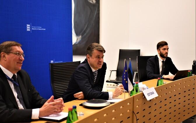 Minister of Foreign Affairs Urmas Reinsalu at a virutal meeting.
