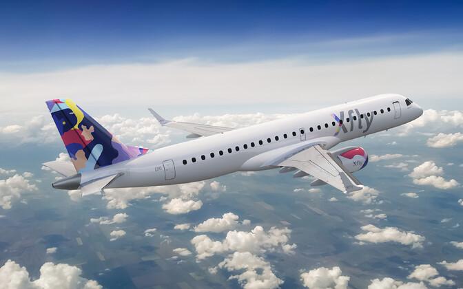 Xfly uus bränd. Sellise logoga lennukeid päriselt õhus lendama ei hakka, sest Regional Jet lendab ka edaspidi teiste kommertsoperaatorite heaks, kasutades nende logosid.