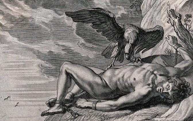 Kalju külge aheldatud Prometheus, kelle maksa käis iga päev nokkimas kotkas. Öösel kasvas maks tagasi.