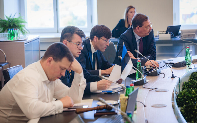 Government members. From left, Prime Minister Jüri Ratas (Center), foreign minister Urmas Reinsalu (Isamaa), finance minister Martin Helme (EKRE) and economic affairs and communications minister Taavi Aas (Center), at a recent government meeting.