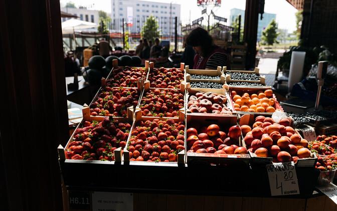 Strawberries on sale at Tallinn's Balti Jaam Market