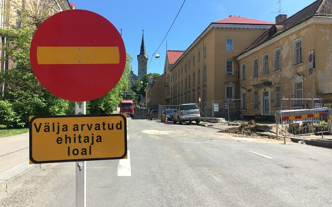 Construction work in Luise street in Tallinn.