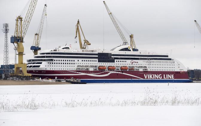 Soome ettevõtte Viking Line laev M/S Viking Grace Turu laevaehitustehases.