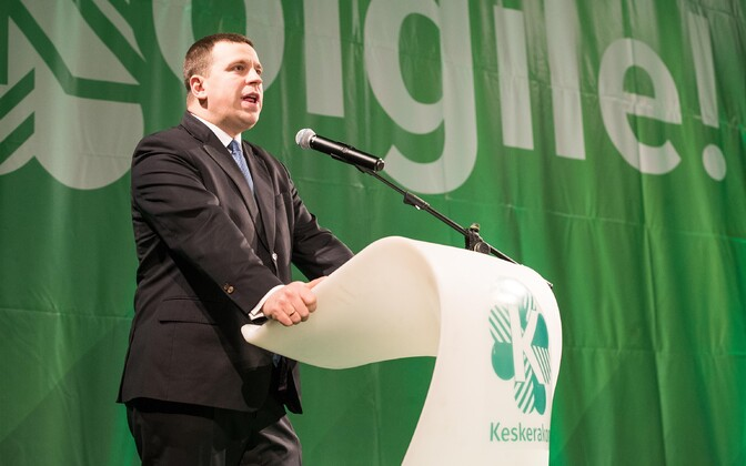 Prime Minister and Center Party leader Jüri Ratas making a speech to party members.