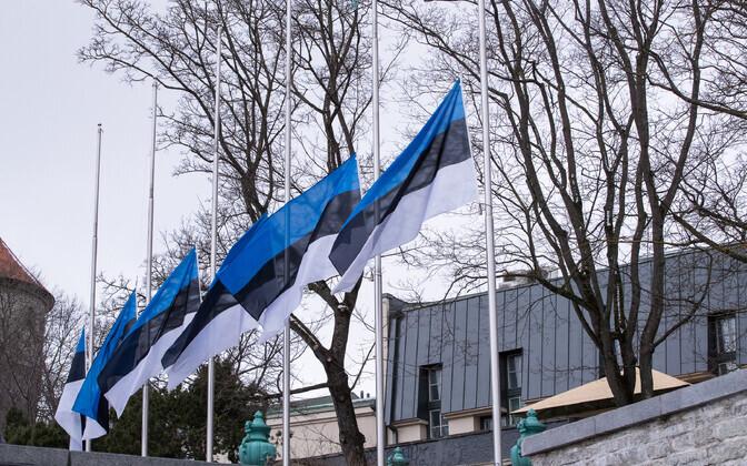 National flags at half-mast.