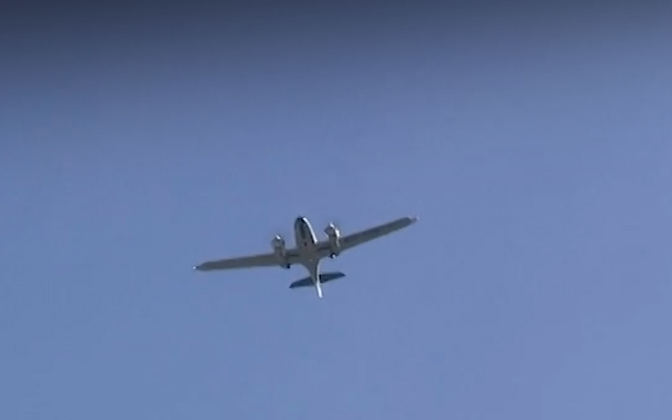 One of the private planes involved in Sunday's flyover, marking the 79th anniversary of the June 1941 deportations.