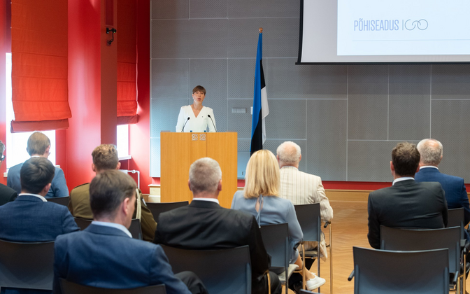 President Kersti Kaljulaid addressing the Riigikogu's constitutional committee on Monday, the 100th anniversary of the first Estonian constitution