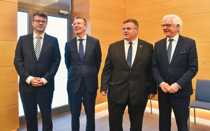 From left, Estonian foreign minister Urmas Reinsalu, with his counterparts Edgars Rinkēvičs (Latvia), Linas Antanas Linkevičius (Lithuania) and Jacek Czaputowicz (Poland).