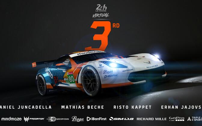 Risto Kappet jõudis meeskonnakaaslastega virtuaalsel Le Mans'i kestvussõidul pjedestaalile