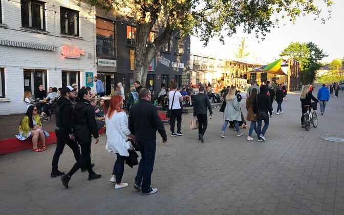 People gathering on the last weekend of May in Tallinn's Telliskivi.