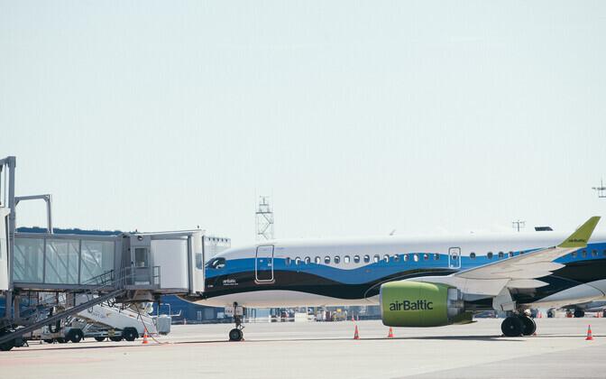 An AirBaltic plane at Tallinn Airport.