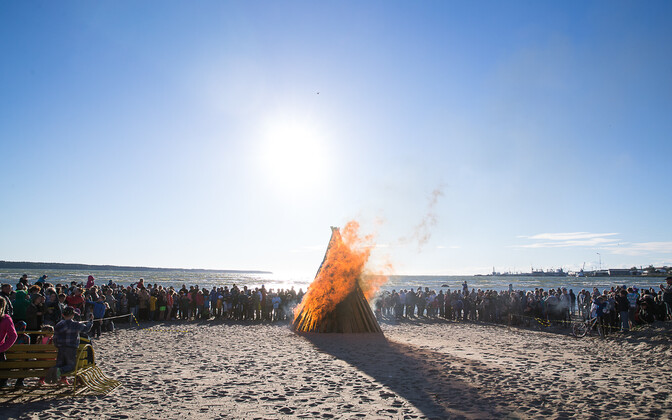 Midsummer bonfire on a beach in Estonia. Photo is illustrative.