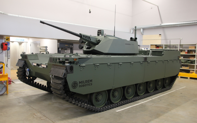 Milrem Robotics' new Type-X tracked, unmanned armored vehicle.