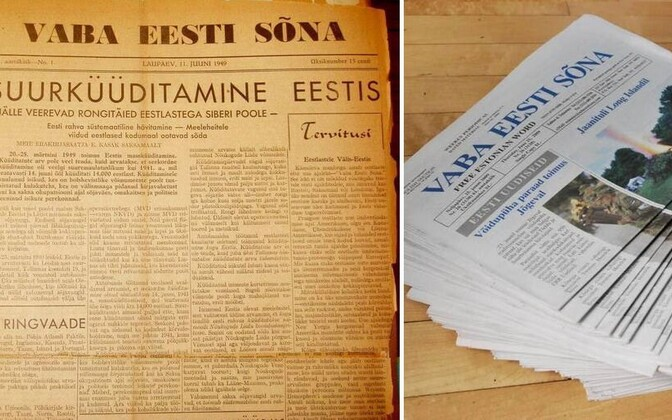The front page of a June 1949 edition of Estonian-American newspaper Vaba Eesti Sõna (