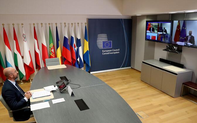 Hiina ja Euroopa Liidu virtuaalne tippkohtumine.