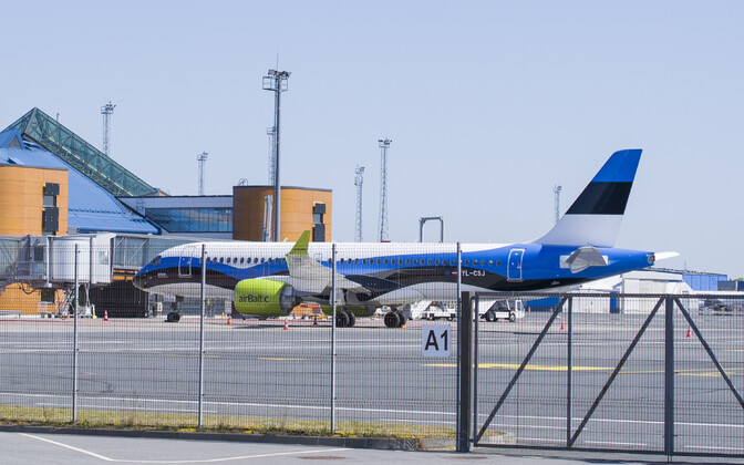 Aircraft of airBaltic in Tallinn Airport