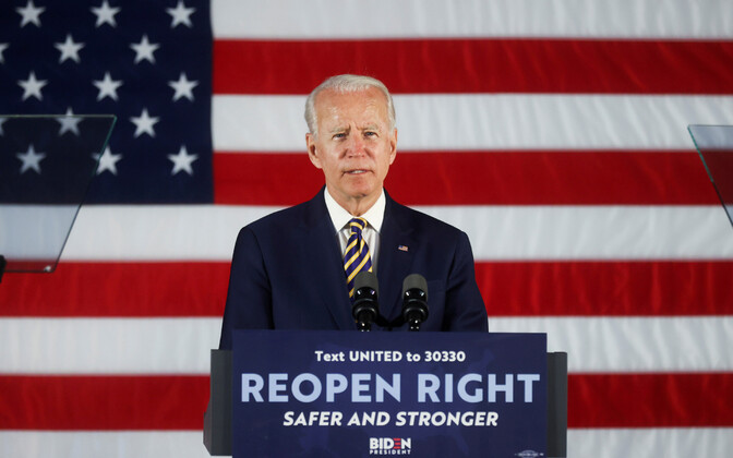 USA Demokraatliku partei presidendikandidaat Joe Biden valimisüritusel kõnet pidamas.