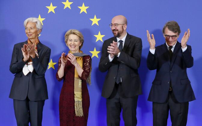 Europa Liidu institutsioonide juhid (vasakult alates): Euroopa Keskpanga president Christine Lagarde, Europa Komisjoni president Ursula von der Leyen, Europa Ülemkogu eesistuja Charles Michel ja Euroopa Parliamendi esimees David Sassoli.