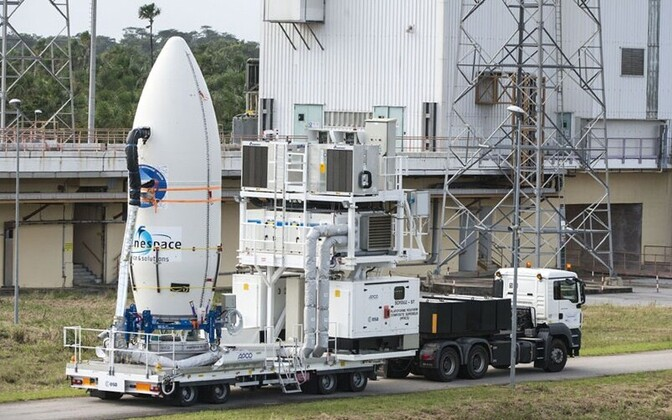 Prepatations for the launch of the Vega booster rocket at the Guiana Space Center.