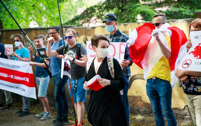 Protesters called for free elections outside the Belarusian Embassy in Tallinn on June 29.