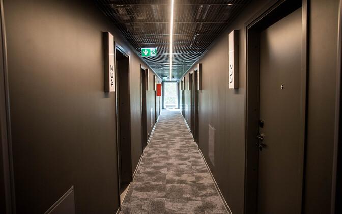 Deserted hotel corridor in Tallinn.