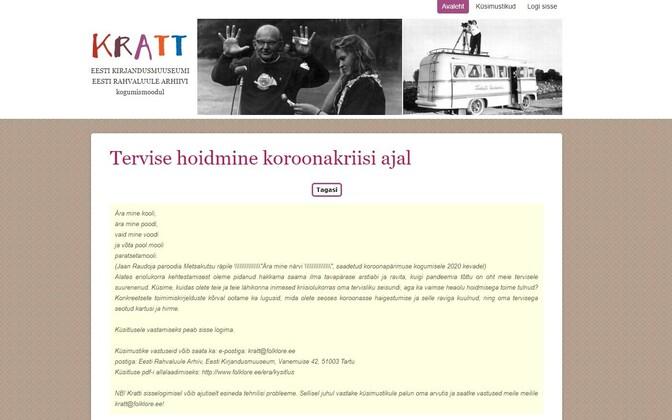 Moodulisse Kratt saab sisestada ka vabas vormis muljeid või lugusid selle kohta, miks selline pandeemia üldse tekkis.