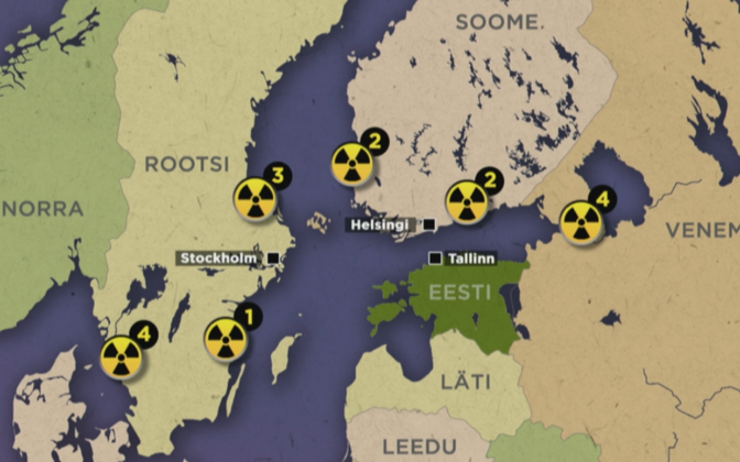 Location of currently active nuclear power plants in the Baltic Sea region.
