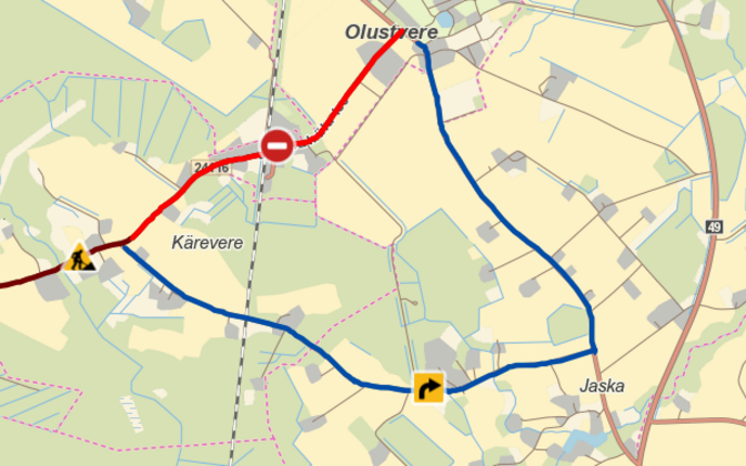 Olustvere and Jaama road closed.