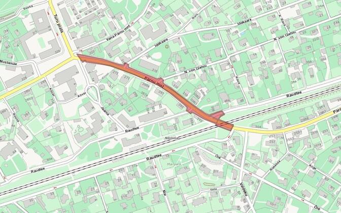 Участок Пярнуского шоссе будет закрыт для движения с 9 по 12 июля.