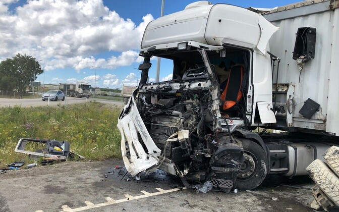 The collision between two trucks at Lagedi, near Tallinn on July 9.