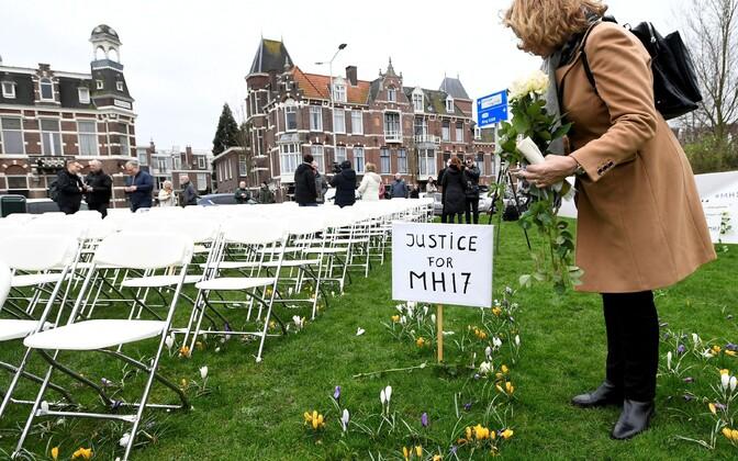 MH17 lennuõnnetuse ohvrite lähedaste protest tänavu märtsis Haagis Vene saatkonnahoone juures.