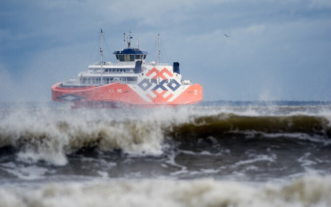 Island ferry making way during stormy conditions off the island of Muhu.