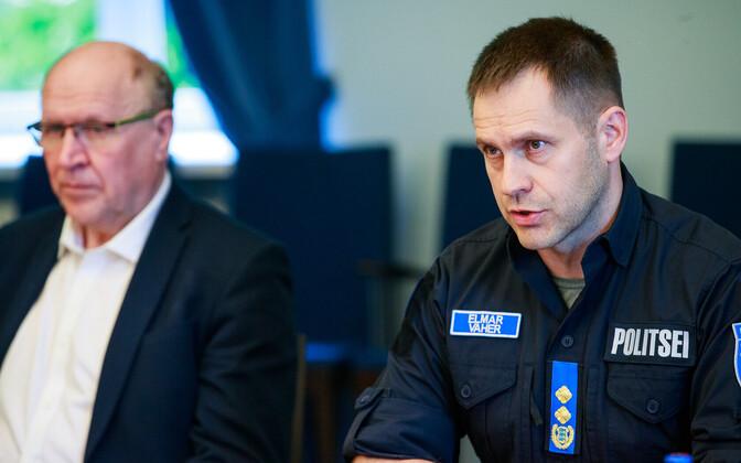 Министр внутренних дел Март Хельме и гендиректор Департамента полиции и погранохраны Эльмар Вахер.