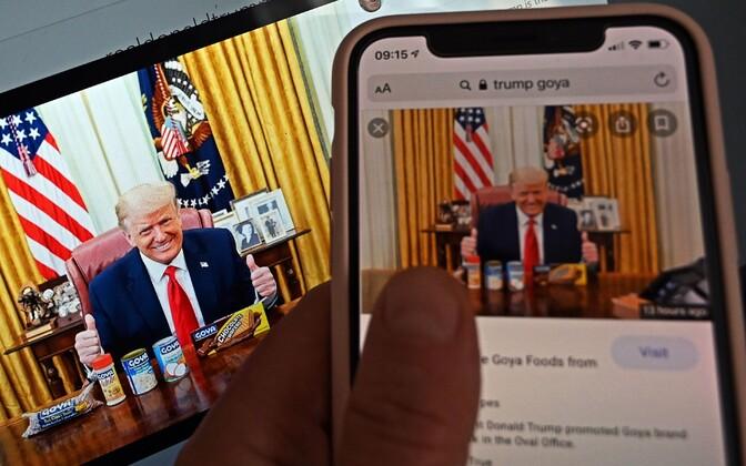 Instagrammi postitus sellest, kuidas USA president Ovaalkabinetis Goya kaubamärgi tooteid reklaamib.