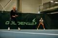 Anett Kontaveit and Kaia Kanepi training for the Estonian-Latvian tournament.
