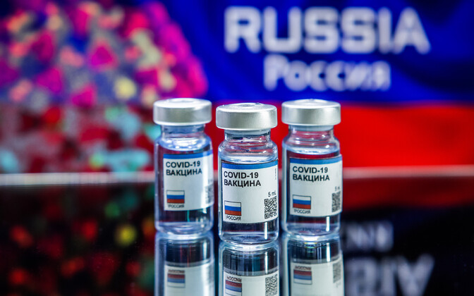 Fotomontaaž võimalikust Vene koroonavaktsiinist.