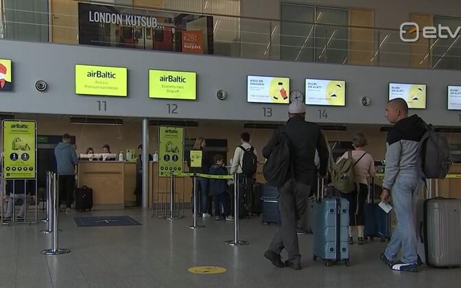 Tallinn Airport departures check-in.