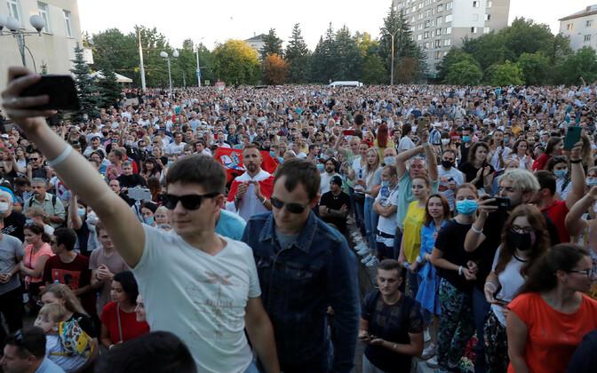 Neljapäevane meeleavaldus Minskis.